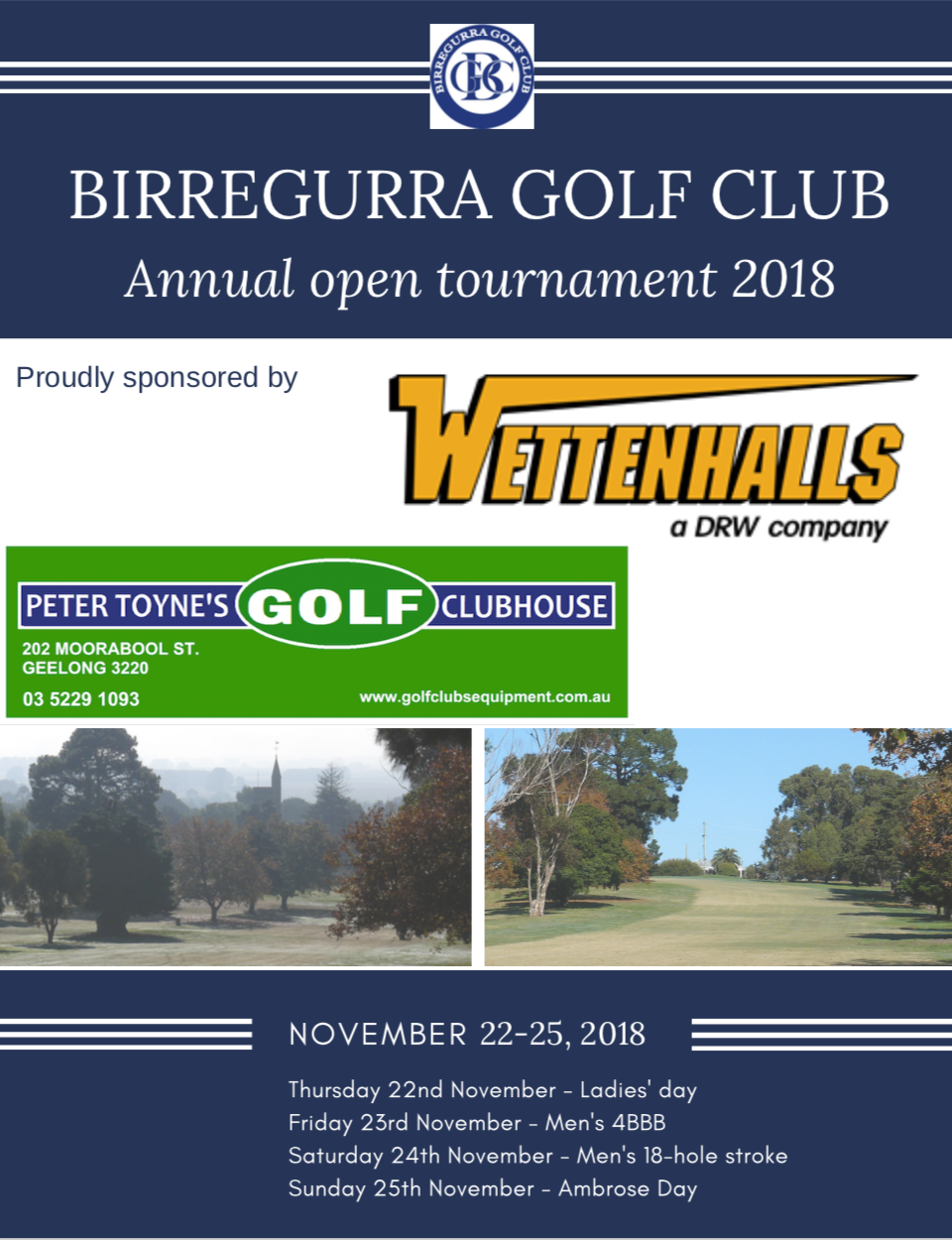 Birregurra Golf Club 2018 tournament